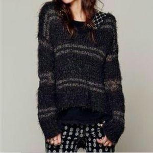 Free People Fuzzy Linus Striped Sweater